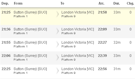 Train times Sutton Station to London Victoria