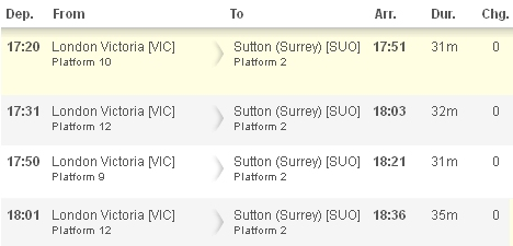 Train times London Victoria to Sutton Station